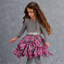 Kate Mack ボーダー×チェックのワンピースドレス(ジュニアサイズ)