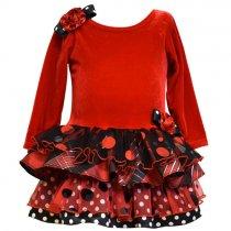 【残り一点!サイズ5のみ】Bonnie Jean チェック×ドットの赤の長袖ドレス(キッズサイズ)