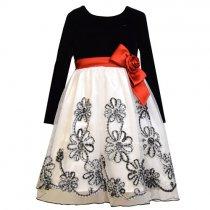 Bonnie Jean チェックリボンフラワーの長袖ドレス(キッズサイズ)