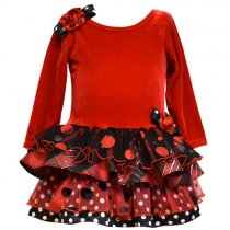 Bonnie Jean チェック×ドットの赤の長袖ドレス(トドラーサイズ)