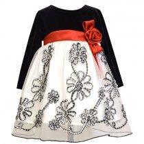 Bonnie Jean チェックリボンフラワーの長袖ドレス(トドラーサイズ)