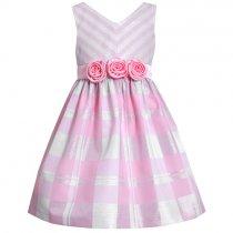 【アウトレット!!】Bonnie Jean バイアスストライプ×チェックのピンクドレス(サイズ14)