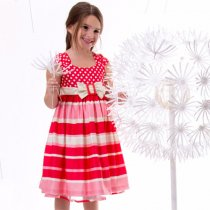 【アウトレット!】Bonnie Jean キャンディレッドの水玉×ボーダードレス(3T)