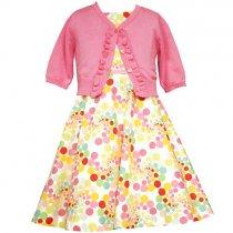 Bonnie Jean カーディガン付きマルチドットのプリントドレス(ジュニアサイズ)