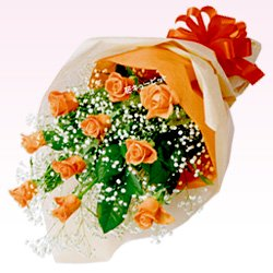 バラ花束 オレンジ/花キューピット