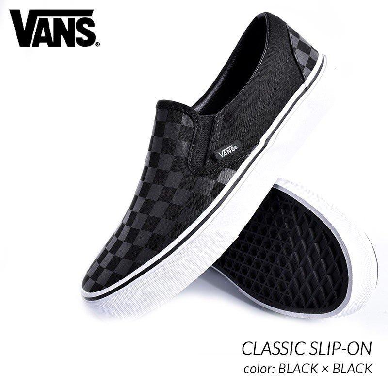 限定 バンズ クラシック スリッポン スニーカー VANS CLASSIC SLIP-ON BLACK × BLACK ( 黒 ブラック チェッカーフラッグ メンズ VN000EYE276…