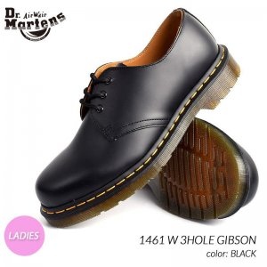 限定 ドクターマーチン ギブソン 3ホール レザーシューズ ブーツ Dr.Martens 1461 W 3HOLE GIBSON BLACK ( 黒 ウィメンズ レディース 11837002 )