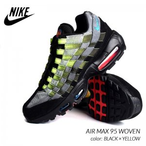 <img class='new_mark_img1' src='https://img.shop-pro.jp/img/new/icons47.gif' style='border:none;display:inline;margin:0px;padding:0px;width:auto;' />NIKE AIR MAX 95 WOVEN BLACK × YELLOW ナイキ エアマックス 95 ウーブン スニーカー ( 限定 黒 イエローグラデ  AQ0764-001 )