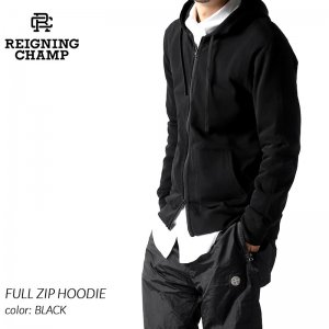 REIGNING CHAMP FULL ZIP HOODIE BLACK レイニングチャンプ フルジップ フーディ パーカー ( レーニングチャンプ 黒 ブラック RC-3543 )