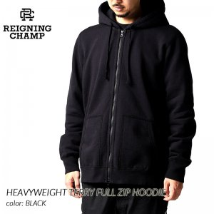 <img class='new_mark_img1' src='https://img.shop-pro.jp/img/new/icons47.gif' style='border:none;display:inline;margin:0px;padding:0px;width:auto;' />REIGNING CHAMP HEAVYWEIGHT TERRY FULL ZIP HOODIE BLACK レイニングチャンプ フルジップ パーカー ( レーニングチャンプ 黒 RC-3644 )