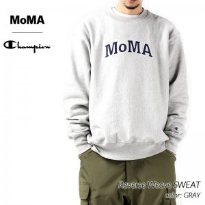 <img class='new_mark_img1' src='https://img.shop-pro.jp/img/new/icons47.gif' style='border:none;display:inline;margin:0px;padding:0px;width:auto;' />MoMA x Champion Reverse Weave SWEAT GRAY モーマ チャンピオン リバースウィーブ スウェット ( グレー 灰色 クルーネック CS3050-950 )