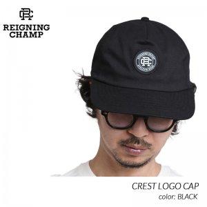 REIGNING CHAMP CREST LOGO CAP BLACK レイニングチャンプ クレスト ロゴ CAP 帽子 キャップ ( レーニングチャンプ 黒 ブラック RC-7233 )