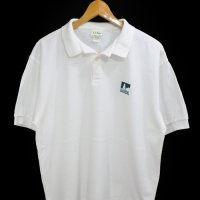 90s L.L.Bean POLO 100% COTTON WHT USA製